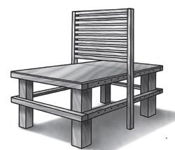 A partir de la construcción de un banco, este podrá ser transformado en una silla doble (de posiciones opuestas con un solo espaldar), que se convierte en un asiento multiposición reclinable con solo cambiar la orientación del respaldo. A su vez, este puede transfigurarse en una cama-catre.
